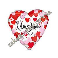 """Фольгированные воздушные шары, форма:сердце, """"I Love You с сердечками"""", размер: 18 дюймов/45 см, 1 штука"""