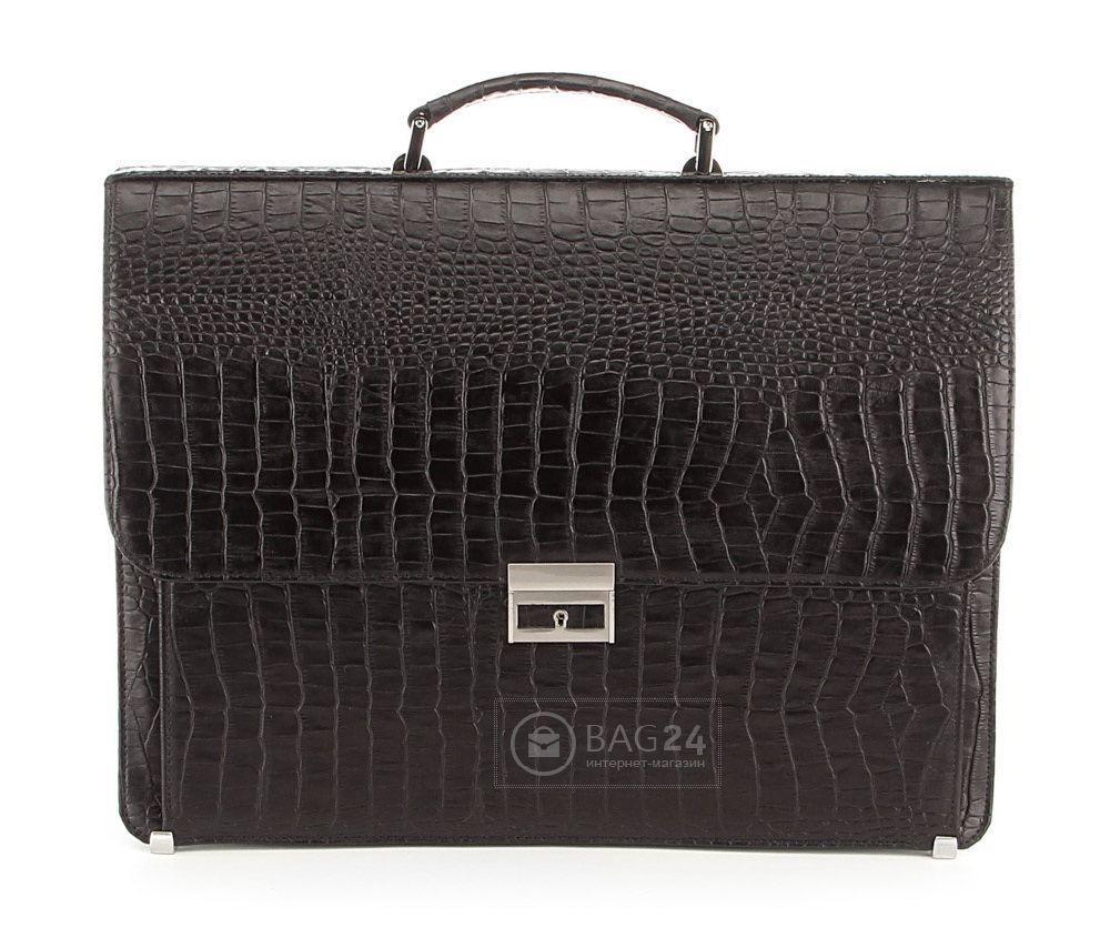 Портфель деловой SHVIGEL 00362 из натуральной кожи Черный, Черный