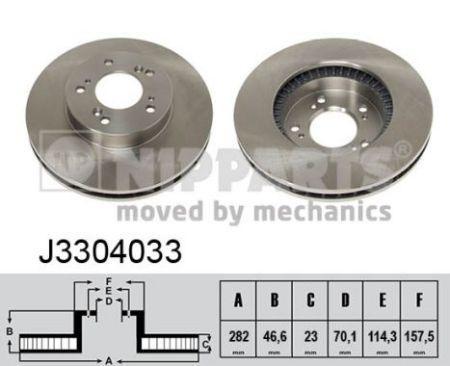 Гальмівний диск передній HONDA CR-V I, HONDA HR-V, HONDA INTEGRA, HONDA PRELUDE V J3304033 NIPPARTS