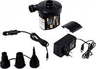 Насос электрический Jilong 29P312-2 для надувных изделий, работает от сети 220В, батареек и от прикуривателя
