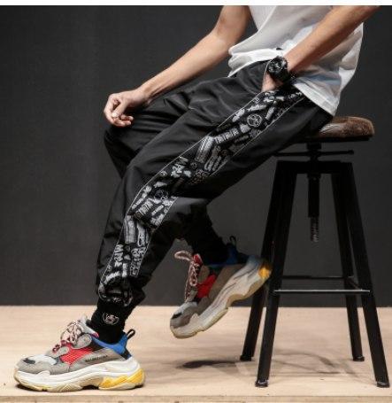 Мужские спортивные гетто штаны на манжетах болоньевые текстиль нейлон полиэстер на резинке