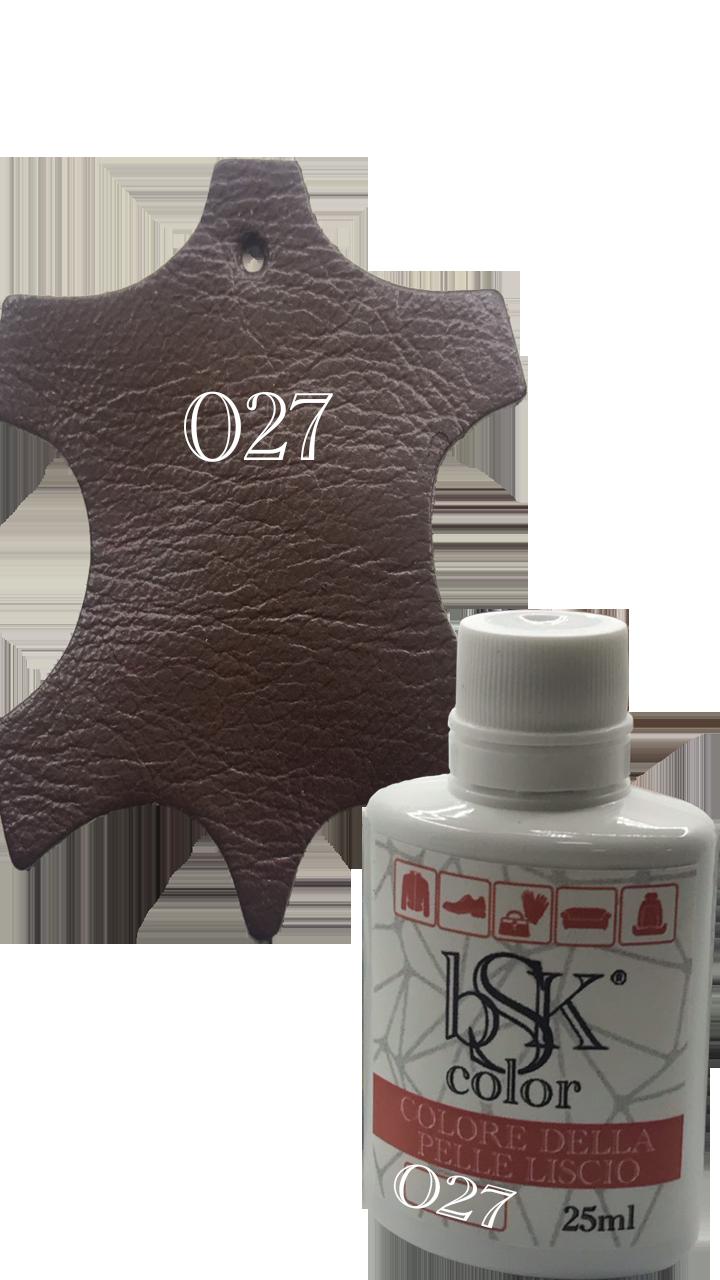 """Краска для гладкой кожи  """"bsk-color"""" 25ml каштановый , цвет №027"""