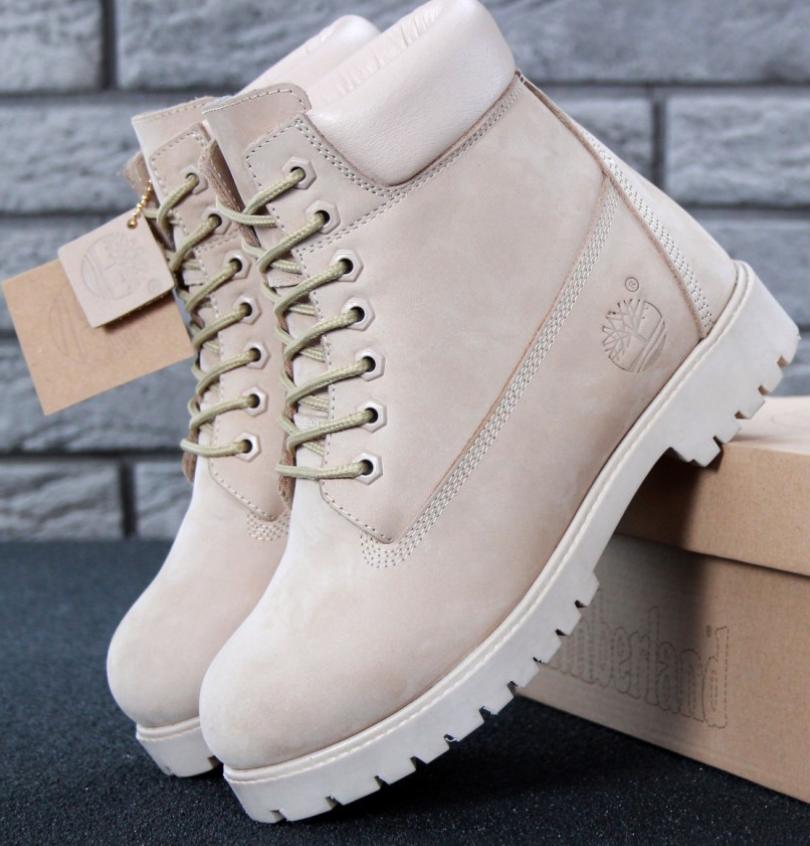 Женские Зимние Ботинки Timberland, ботинки тимберленд кремовые