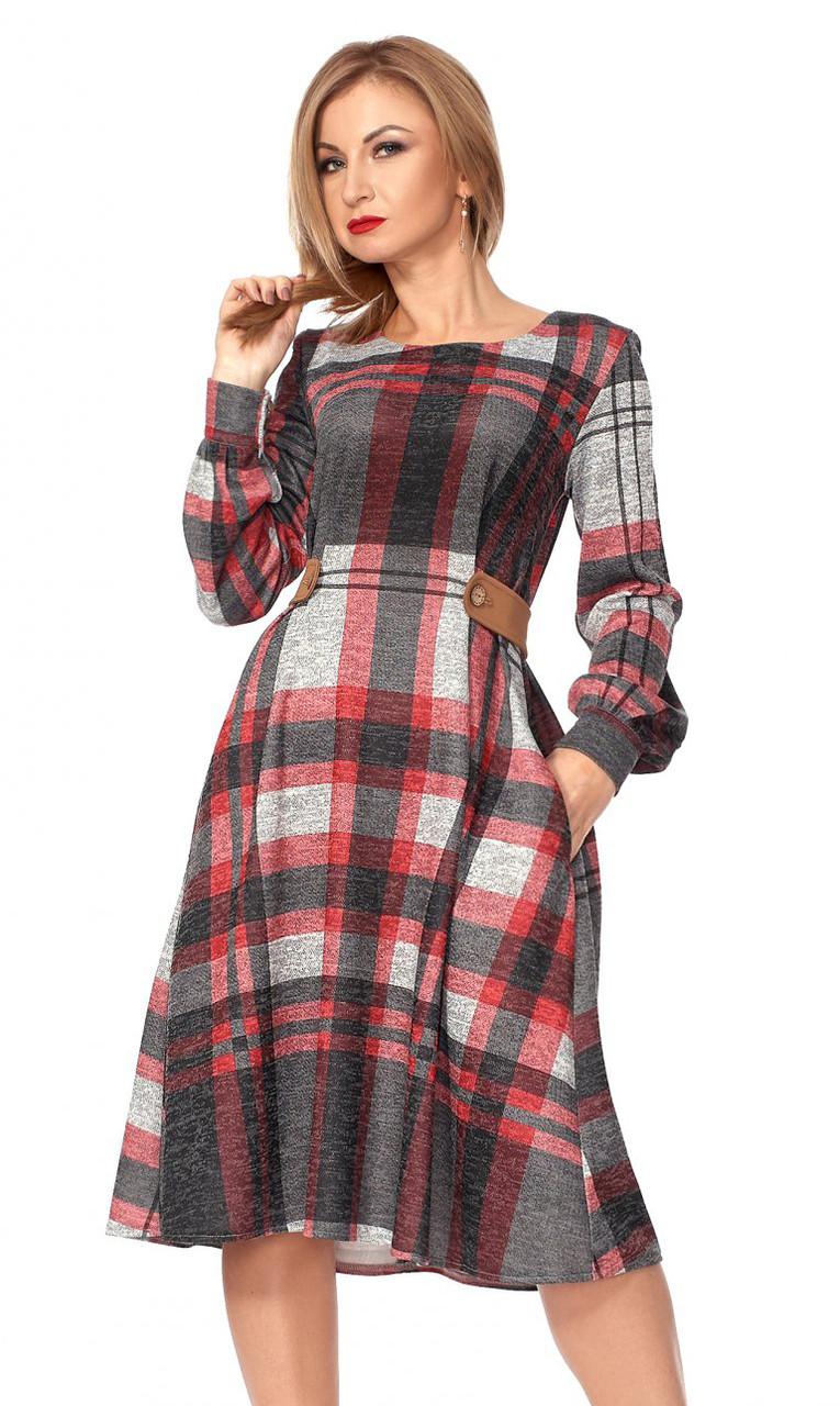 a3233d22467 Теплое платье в клетку красного цвета с длинным рукавом. Модель 1112.  Размеры 42