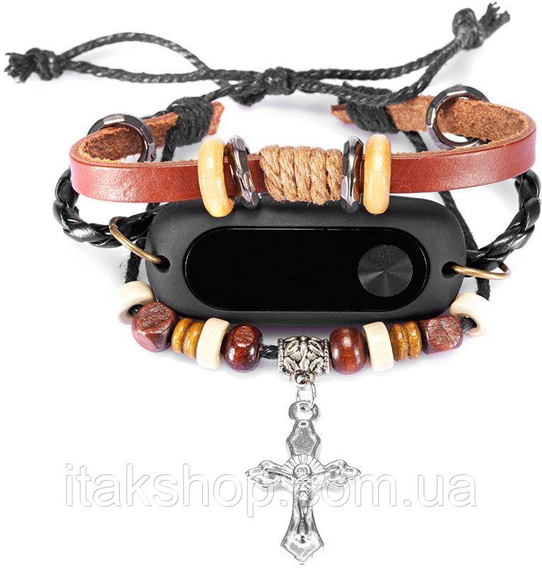 Ремешок UWatch Antique Handmade Beaded Stretch Leather Cross Pendant Strap For Xiaomi Mi Band 2 Original