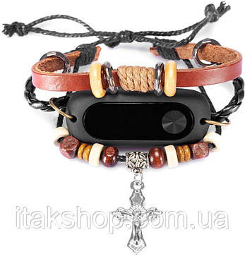 Ремешок UWatch Antique Handmade Beaded Stretch Leather Cross Pendant Strap For Xiaomi Mi Band 2 Original, фото 2