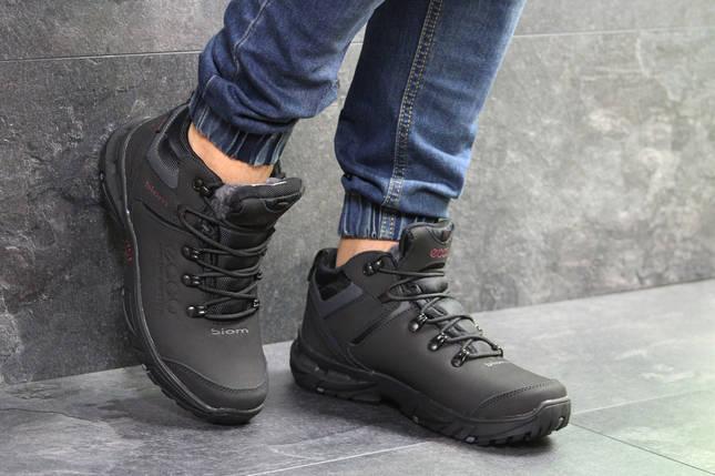 Ботинки зимние мужские в стиле Ecco Biom, нубук, натуральный мех код  SD-6835. Черные с ... f02e6887832
