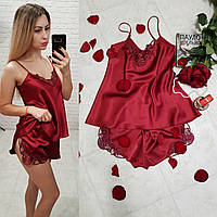 Женский элегантный комплект для сна топ майка с шортами бордо