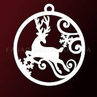 Гирлянда шар с оленем, снежинка из пенопласта