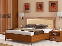 Ліжко з ДСП/МДФ в спальню Флора 1,8х2,0 м'яка спинка з каркасом Миро-Марк