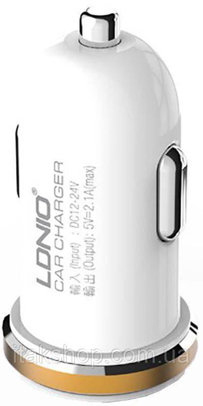 Автомобильное зарядное устройство LDNIO DL-C22 Car charger 2USB 2.1A + Lightning cable Black