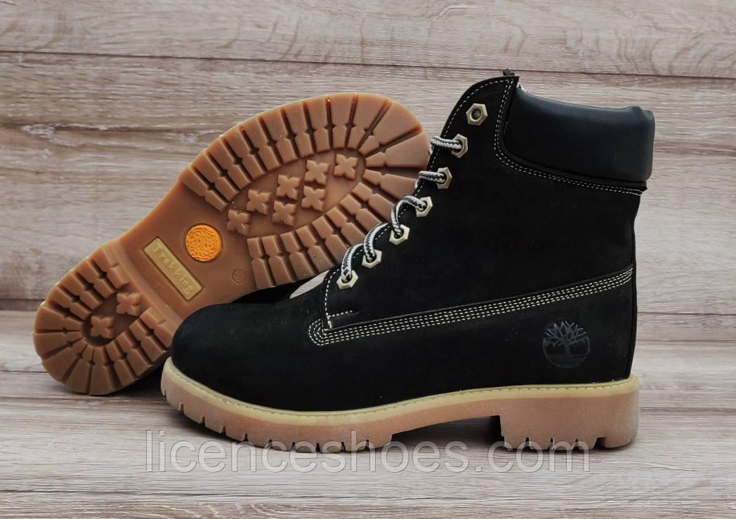 Женские черные зимние ботинки Timberland Black. Натуральная кожа и мех