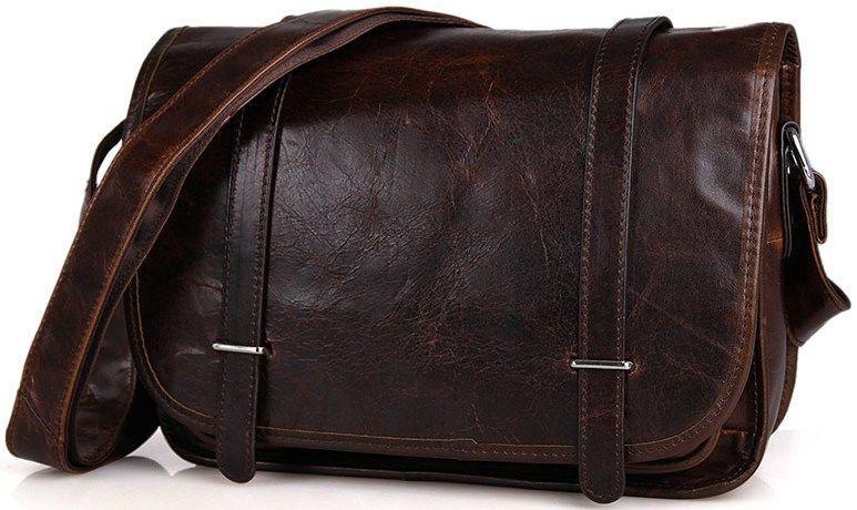 Сумка мужская Vintage 14476 кожаная Коричневая, Коричневый