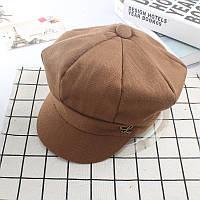 Модная женская шерстяная кепи с козырьком коричневого цвета