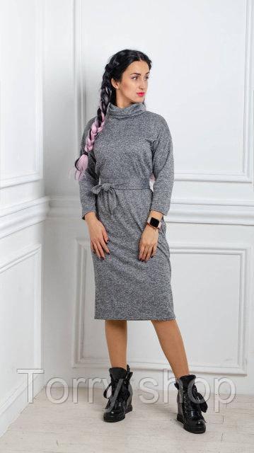 619a00d77eb Теплое трикотажное платье серого цвета большие размеры - Torry shop в  Хмельницком