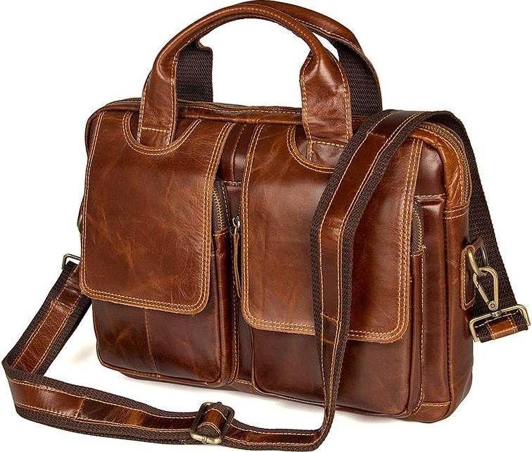 Сумка мужская Vintage 14517 кожаная Коричневая, Коричневый