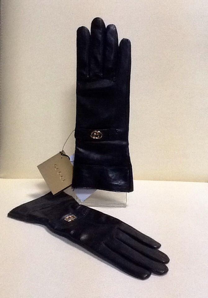 Перчатки женские кожаные в стиле Gucci черные