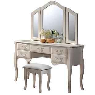Будуарний стіл + дзеркало + пуф (античний білий) Domini