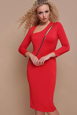 Приталене червоне плаття міді
