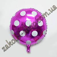 Фольгированные воздушные шары, форма:круг горох полька на малиновом, 18 дюймов/45 см, 1 штука