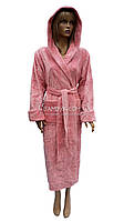 Длинный натуральный халат с капюшоном Nusa цвета пудры NS-8625