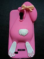 Розовый зайчик Samsung S4 чехол Moschino, фото 1