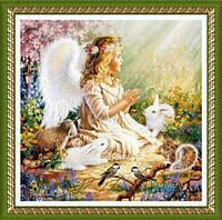 """Картина своими руками - алмазная вышивка """"Ангелочек с кроликами"""""""