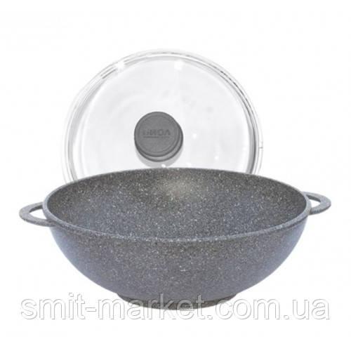 Сковорода антипригарная Вок Биол со стеклянной крышкой (28034ПС)
