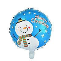 Фольгированные воздушные шары новогодняя тематика, форма:круг с рисунком снеговик, 18 дюймов/45 см, 1 штука