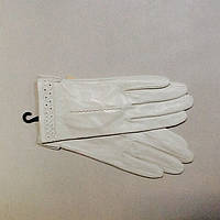 Перчатки женские кожаные  белые молочные, фото 1