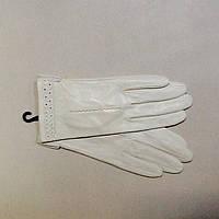 Перчатки женские кожаные  белые молочные