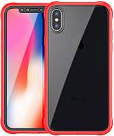 Чехол-накладка Ipaky 360° TPU Border+Transparent PC back iPhone X Red