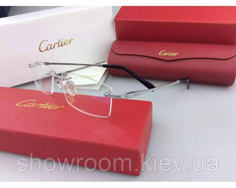 Мужская безоправная оправа в стиле Cartier 8200963 серебрянная