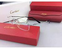 Мужская безоправная оправа в стиле Cartier 8200963 серебрянная, фото 1