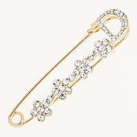Брошь-булавка Dior 115051 на платье золотистая 6см