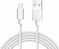 Кабель Rock MFI Charge-Sync round Lightning Cable II 1 m White