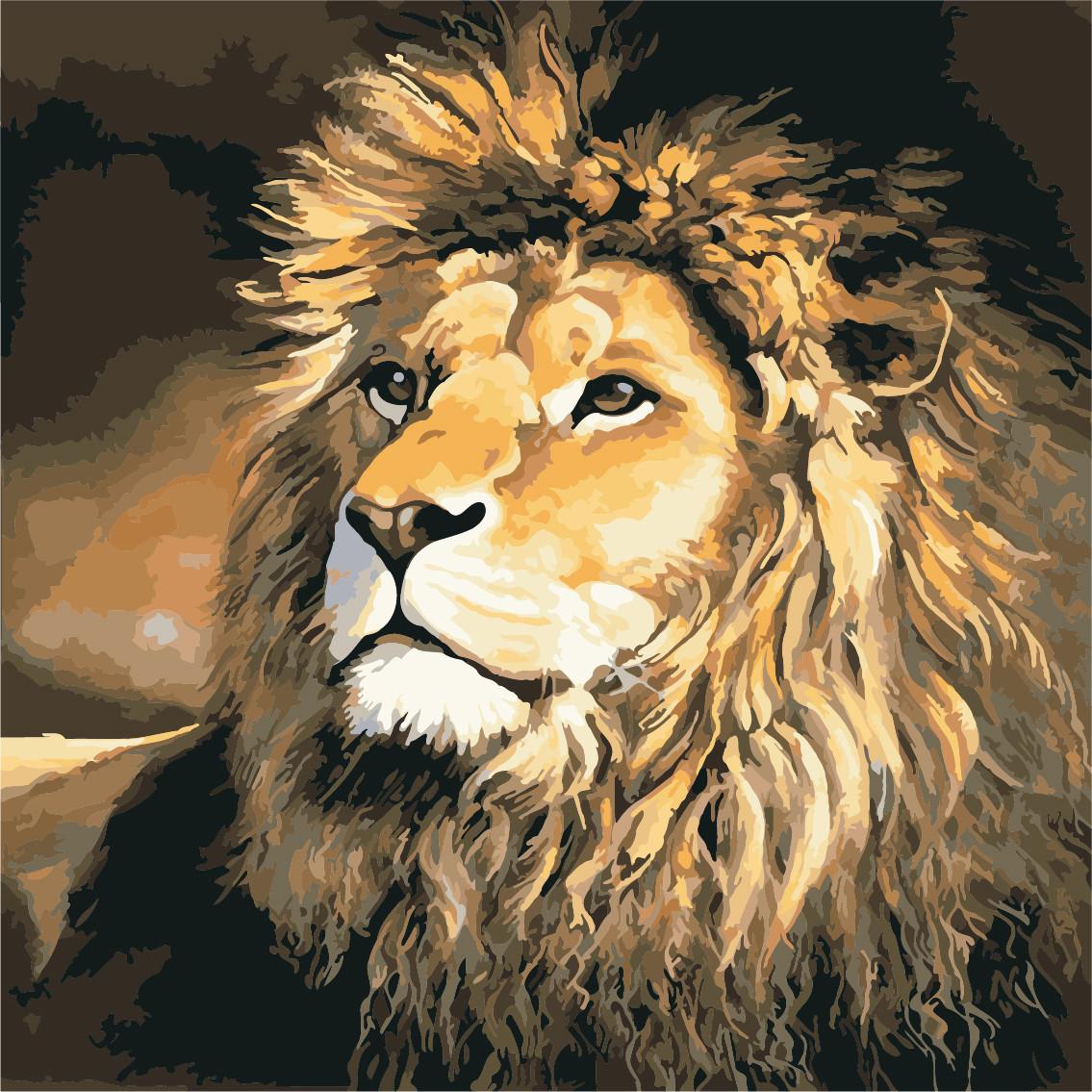 "Картина по номерам ""Гордый лев"" 40*40см"