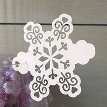 Новорічні білі сніжинки на келихи - 10шт. (розмір сніжинки 8,5 см), папір-картон, лазерна обробка