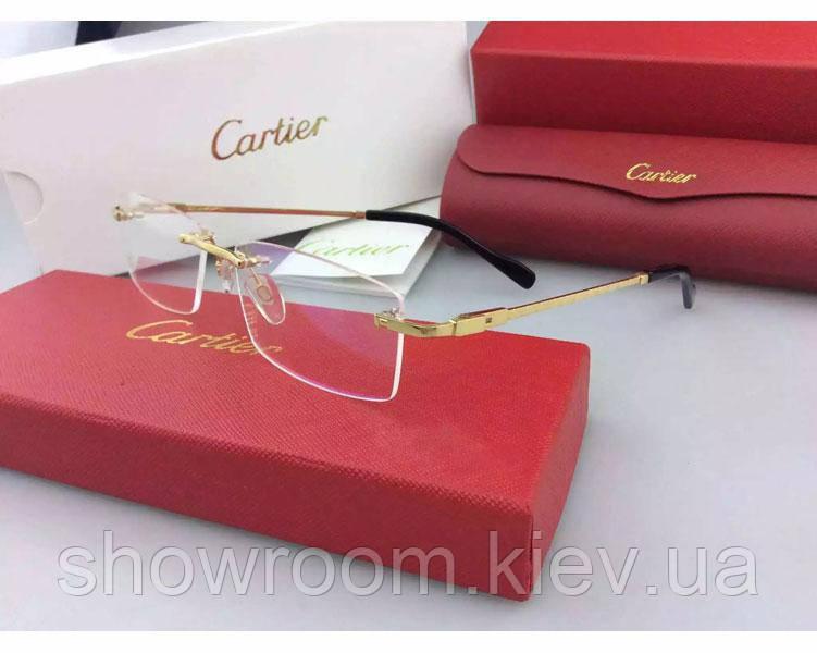 Мужская безоправная оправа в стиле Cartier 8200963 золотая
