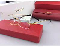 Мужская безоправная оправа в стиле Cartier 8200963 золотая, фото 1