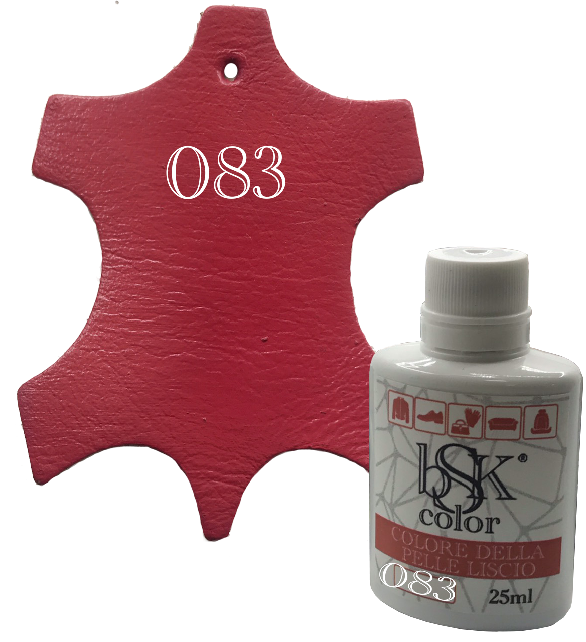 Краска для кожи bsk-color 25ml , цв. красная малина №083