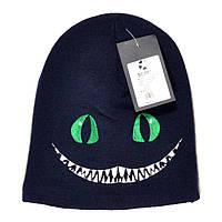 Оригинальная мужская вязаная шапка Sqwear Чеширский кот Алиса в стране чудес темно-синяя стильная реплика