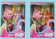 """Кукла типа """"Барби""""Беременная"""" 2 вида, с мал куколкой,коляской,аксесс., в кор. /60-2/(88076-1)"""