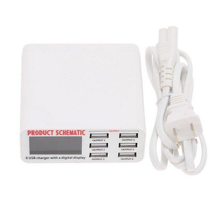 Зарядное устройство WLX-899, сетевое, 6 USB-портов с выходом 5 В 6 А, 220 В, белое, USB Тип-A