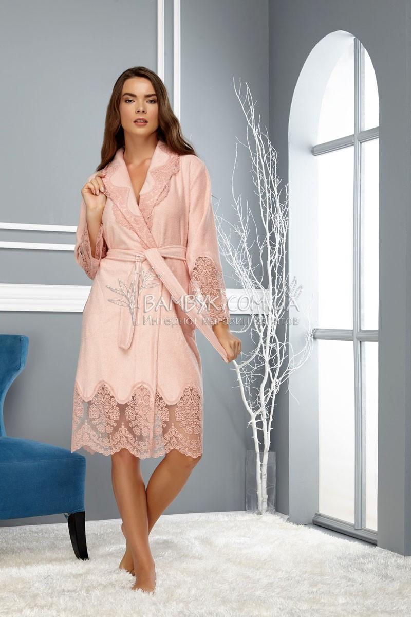 Элитный махровый халат с кружевом цвета пудры Nusa № 163790 (new)