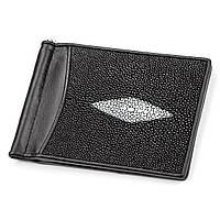 Зажим для денег STINGRAY LEATHER 18120 из натуральной кожи морского ската Черный, Черный