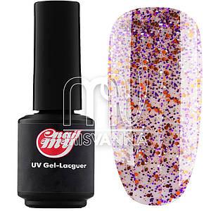 Гель-лак My Nail 9 мл №175, прозрачный с фиолетово-оранжевыми и серебристыми блестками