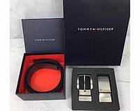 Мужской кожаный брючной ремень в стиле Tommy Hilfiger (039) подарочный набор