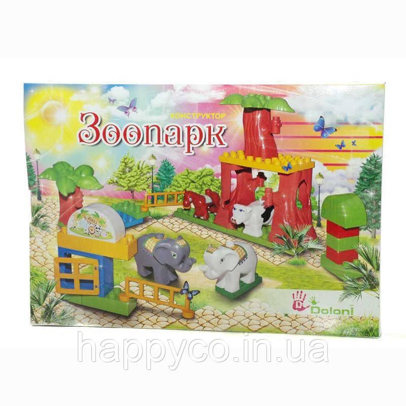 Конструктор  детский Зоопарк 34 дет. в коробке, Фламинго