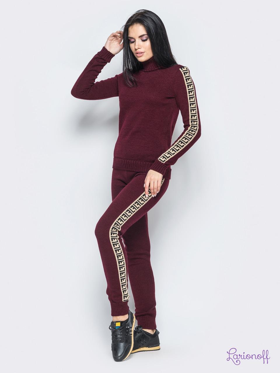Модный  вязаный спортивный костюм,свитер под горло,размер единый 42-46